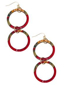 Printed Double Ring Earrings