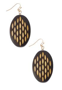 Two-Tone Wooden Oval Earrings