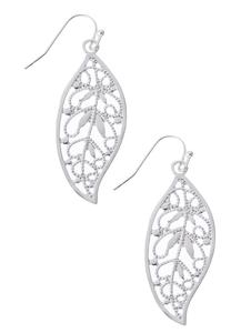 Cutout Silver Leaf Earrings
