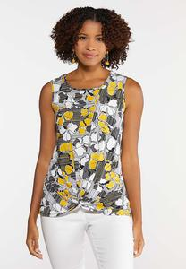 Knotted Golden Floral Tank