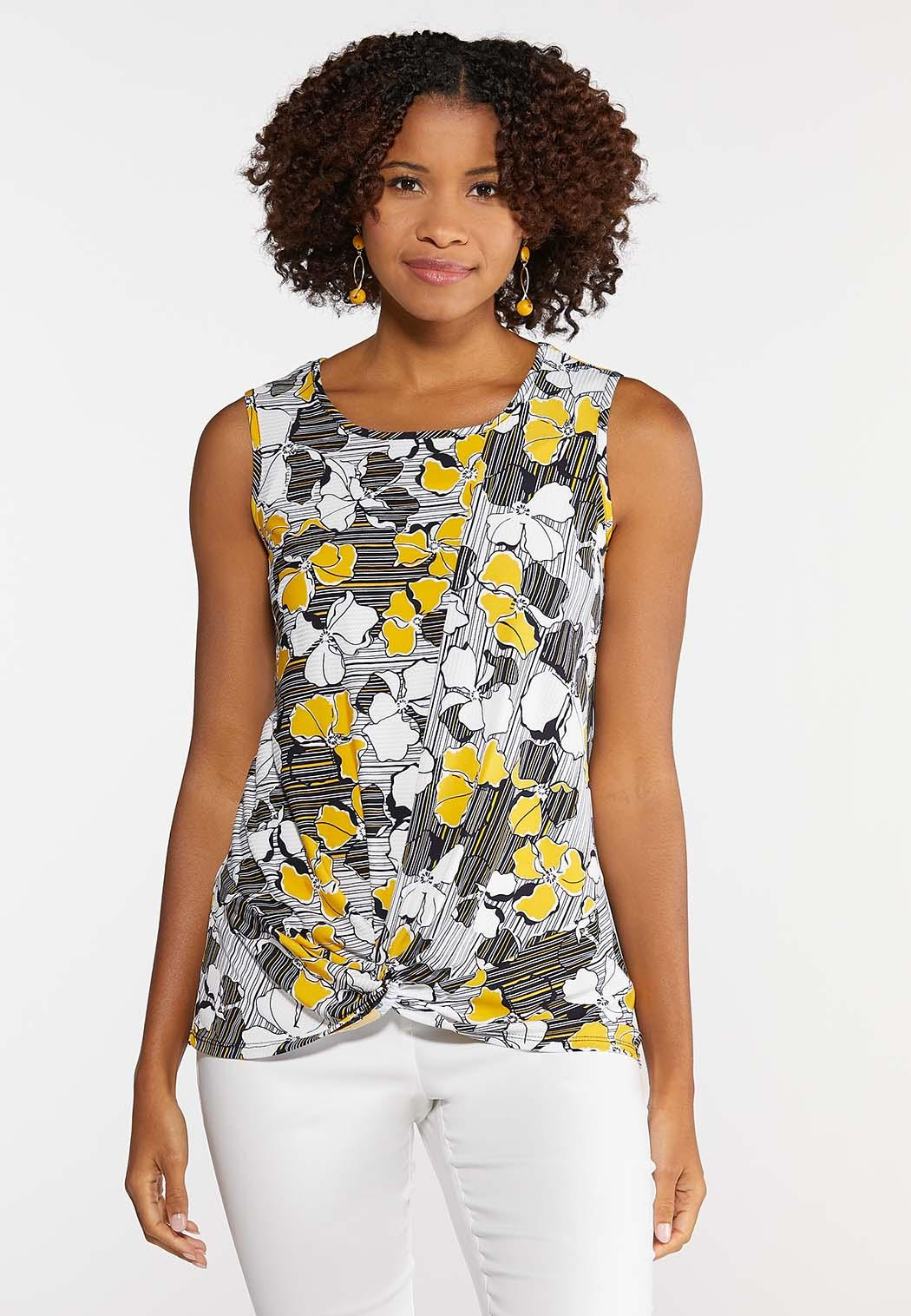 Plus Size Knotted Golden Floral Tank