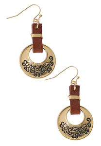 Etched Faux Leather Strap Earrings