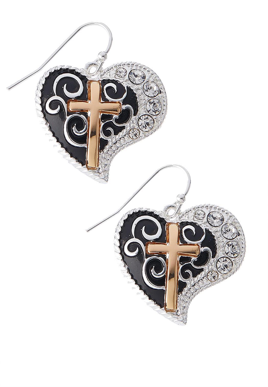 Gold Cross Heart Earrings