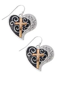 Gold Cross Heart Earrings