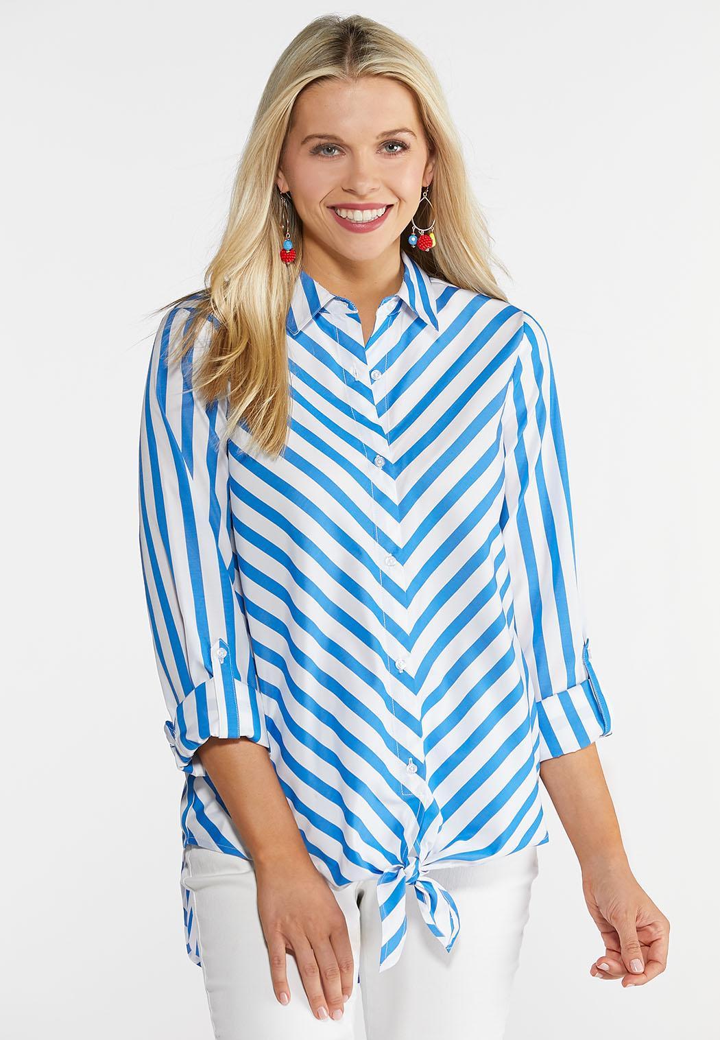 Plus Size Blue Stripe Tie Front Shirt