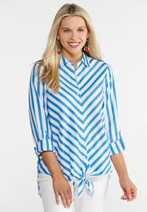 Plus Size Blue Stripe Tie Front Shirt