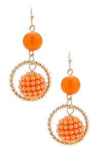Bead Ball Hoop Dangle Earrings