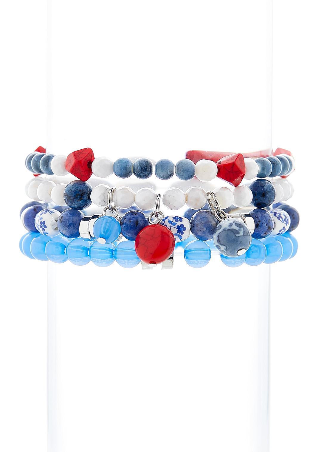 Blue Multi Stretch Bracelet Set