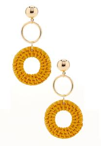 Woven Hoop Dangle Earrings