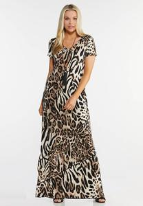 Plus Size Seamed Animal Print Maxi Dress
