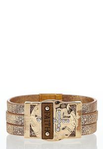 Faith Embellished Wrap Bracelet