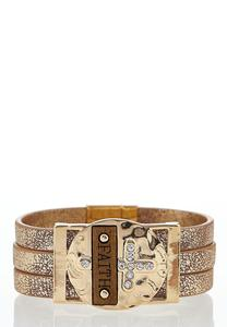 Faith Embellished Wrap Bracelet