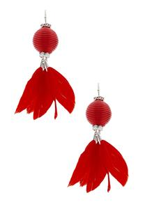 Feather Thread Ball Dangle Earrings