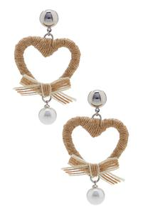 Pearl Burlap Heart Earrings
