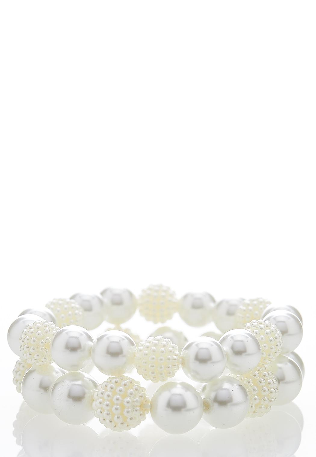 Cluster Pearl Stretch Bracelet Set