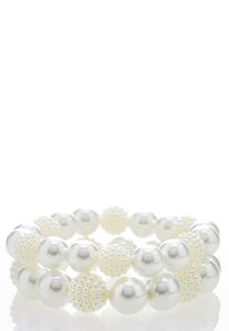 Cluster Pearl Stretch Bracelet Set