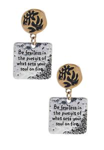 Two-Toned Be Fearless Earrings