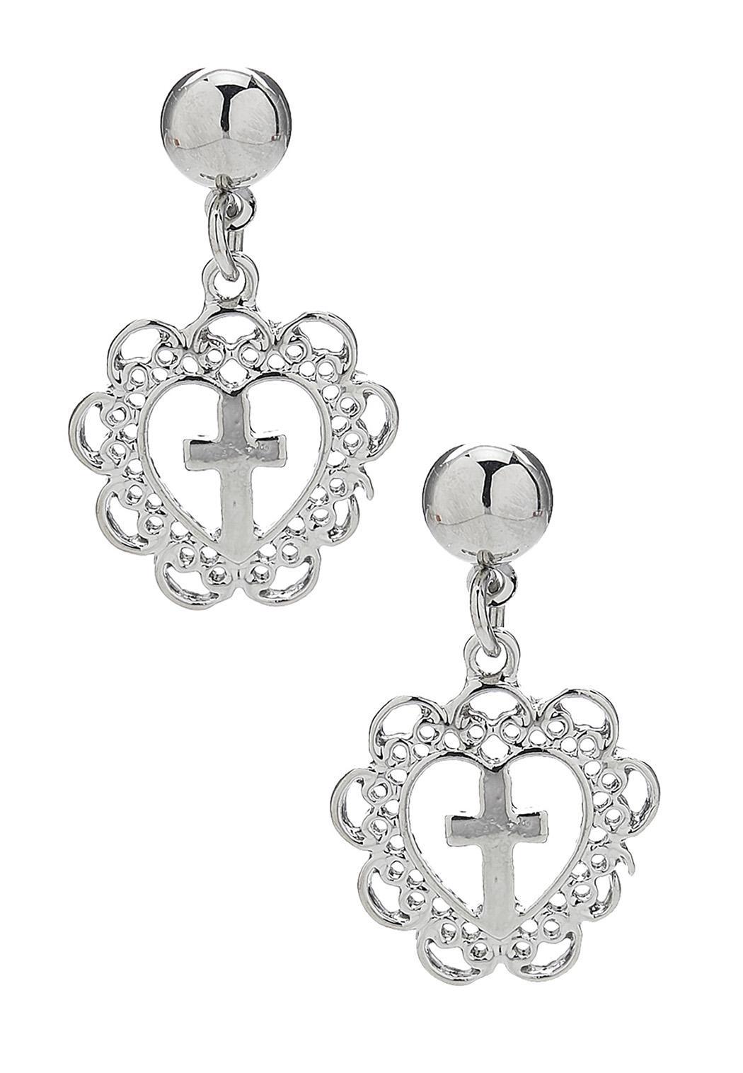 Filigree Heart Cross Earrings