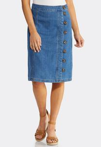 Tortoise Button Denim Skirt