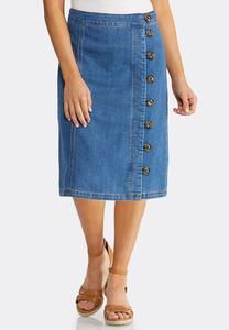 Plus Size Tortoise Button Denim Skirt