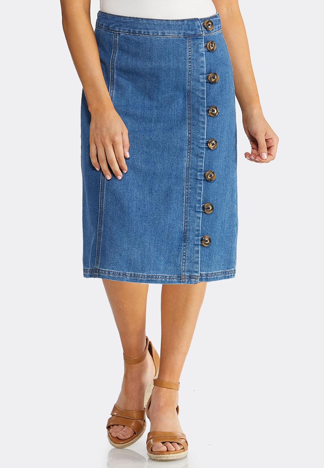 02201d23846 Plus Size Tortoise Button Denim Skirt Skirts Cato Fashions