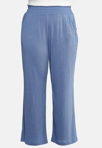 Plus Size Solid Smocked Ribbed Pants
