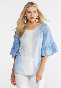 Plus Size Blue Ombre Poet Top