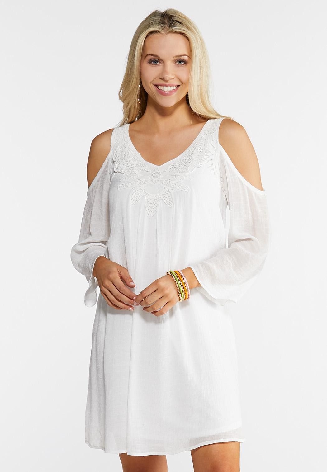 Plus Size Crochet Cold Shoulder Dress