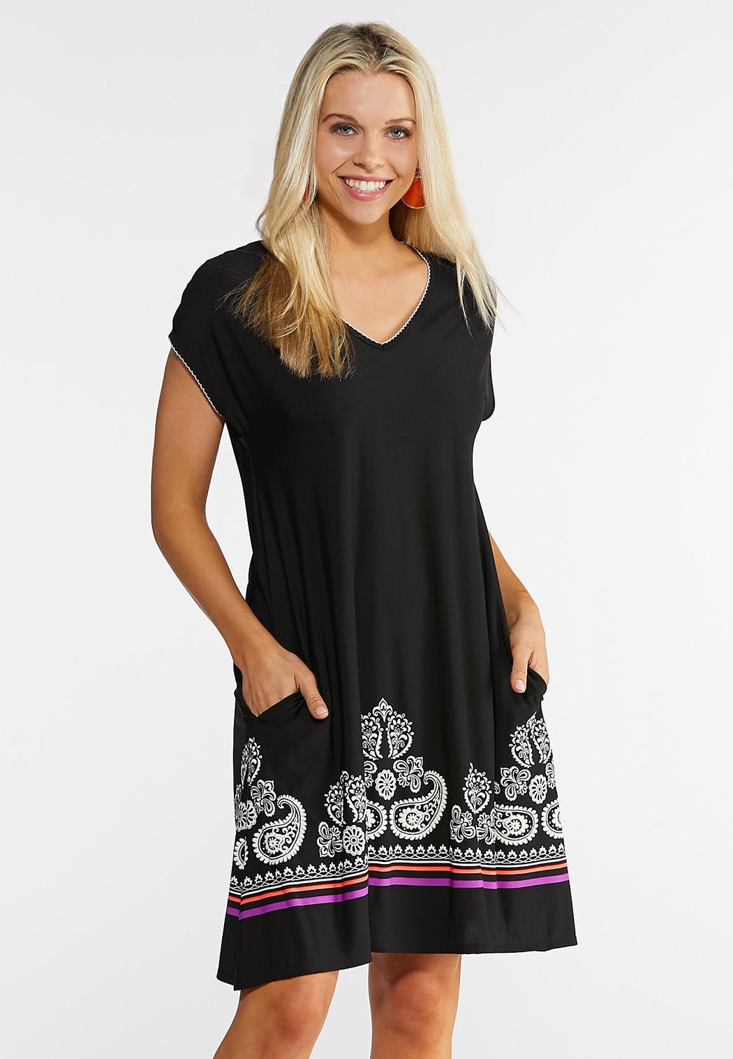 Plus Size Paisley Pocket Swing Dress A- Line & Amp ; Swing Cato Fashions
