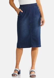Plus Size Button Pocket Denim Skirt