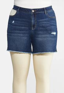 Plus Size Crochet Pocket Denim Shorts