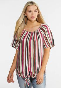 Striped Convertible Tie Top