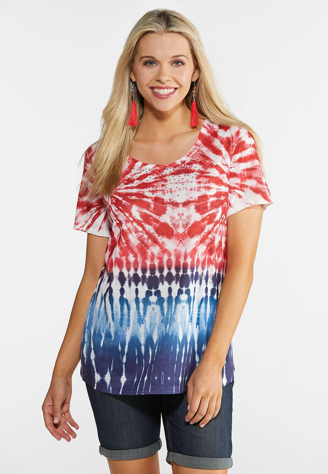 30a217cb47f Plus Size Embellished Tie Dye Tee Tops Cato Fashions