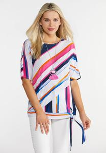 Multi Stripe Tie Front Top