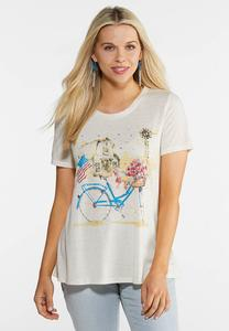Plus Size Americana Bike Graphic Tee