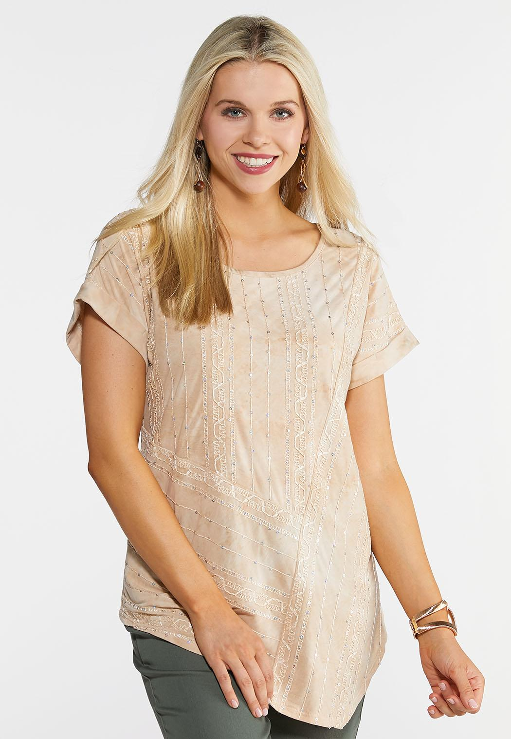Plus Size Embellished Asymmetrical Top