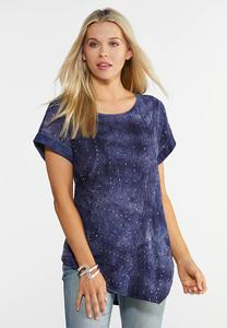 Plus Size Navy Embellished Asymmetrical Top