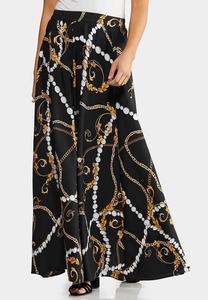 Plus Size Chain Print Maxi Skirt