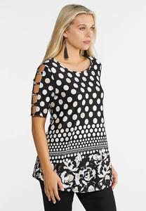 Hardware Sleeve Mixed Print Top
