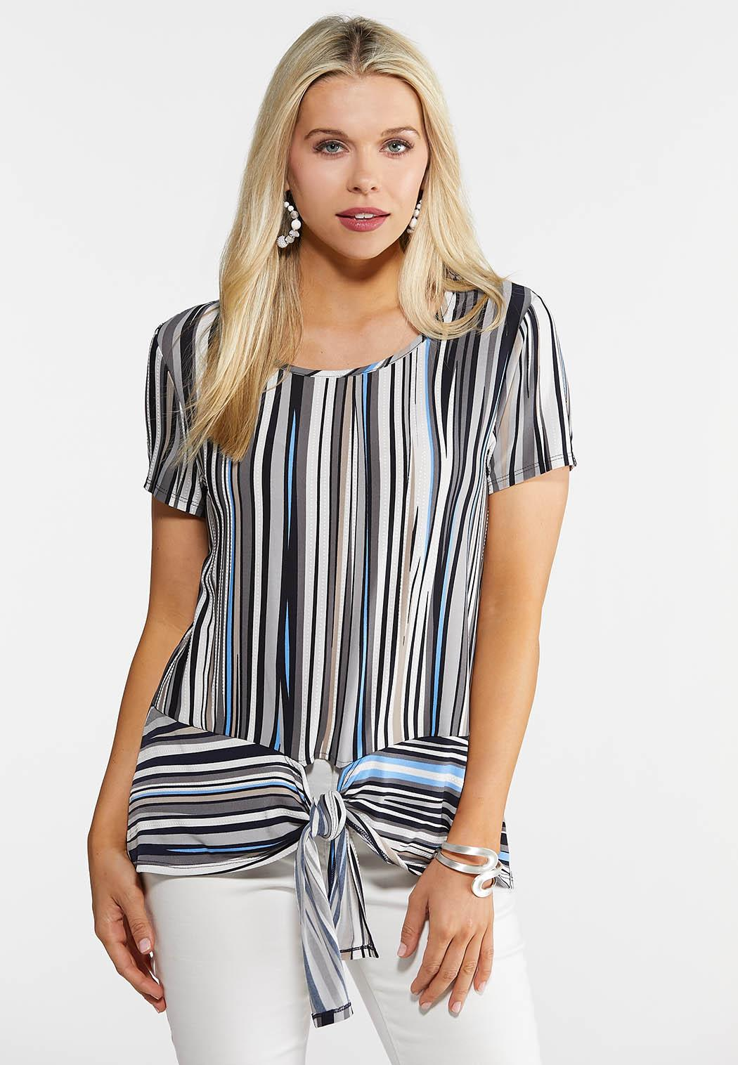 Abstract Stripe Tie Top