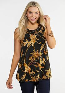 Plus Size Grommet and Chain Print Tank