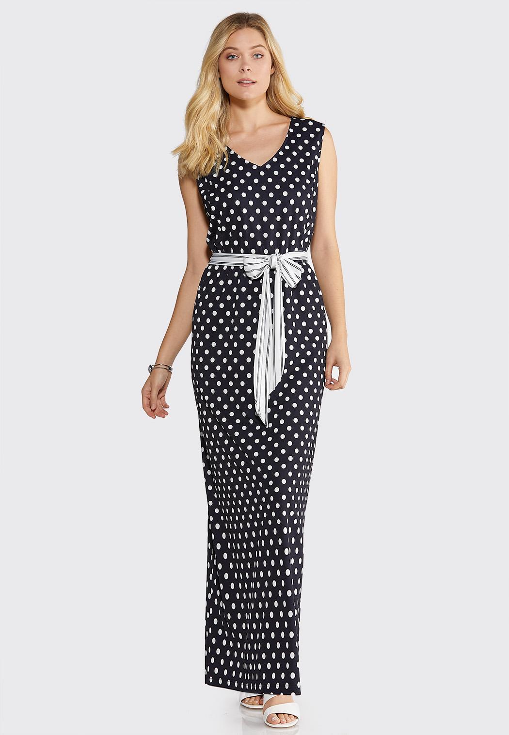 Plus Petite Navy Dot Print Maxi Dress