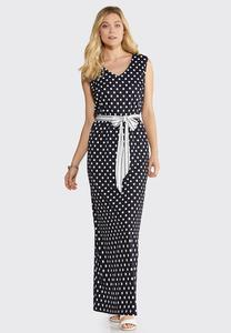 Plus Petite Navy Dot Print Maxi Dress