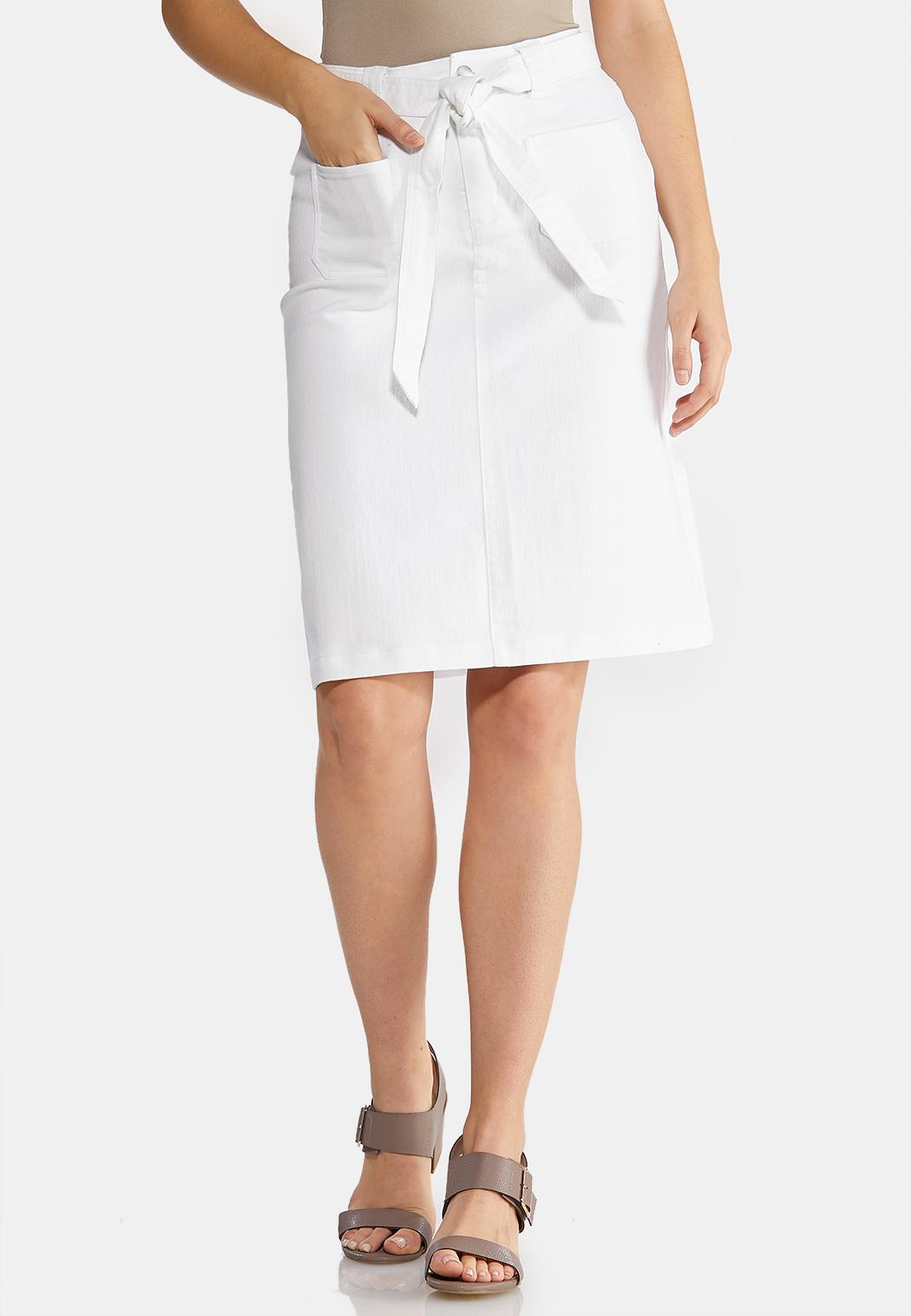 Tie Belt White Denim Skirt