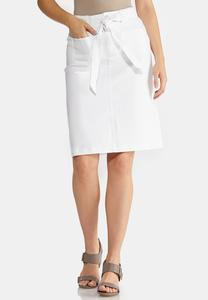 Tie Belt White Denim Skirt