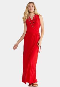 Plus Size Faux Wrap Red Maxi Dress