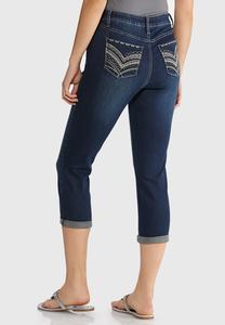 Cropped Stitched Jeans