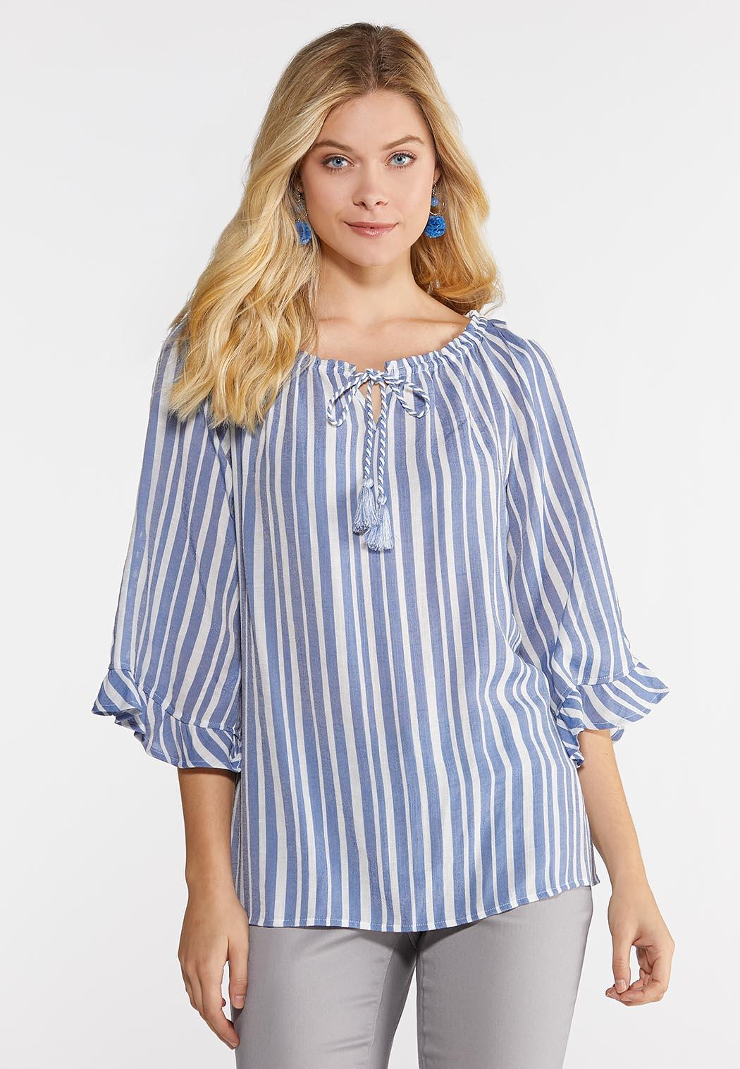 9cdd0db9fe9 Plus Size Stripe Off The Shoulder Poet Top Shirts & Blouses Cato ...