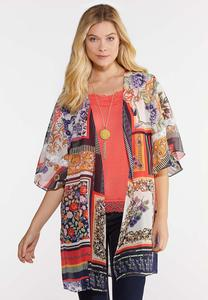 Mixed Floral Crochet Trim Kimono