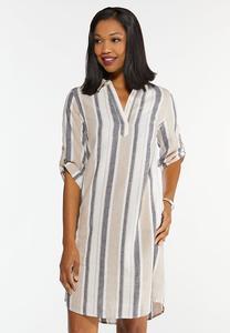 Linen Striped Shirt Dress
